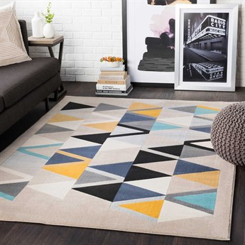 Surya City Mustard / Aqua / Beige / Light Gray Rectangular Area Rug