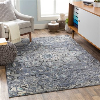 Surya City Charcoal / Taupe / Black / Aqua Rectangular Area Rug