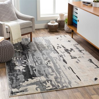 Surya City Taupe / Light Gray Black Beige Khaki Rectangular Area Rug