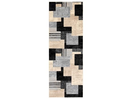 Surya City Black / Light Gray Taupe Beige Khaki Runner Area Rug