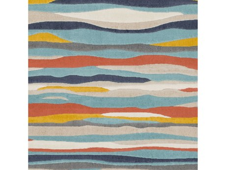 Surya City Aqua / Charcoal / Coral / Mustard Square Sample