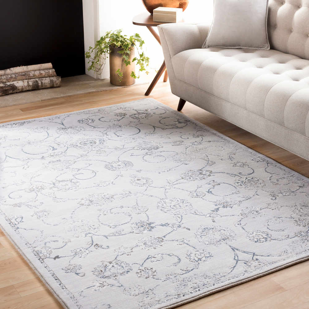Surya Contempo Rectangular White Light Gray Medium Area Rug