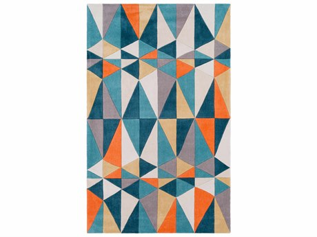Surya Cosmopolitan Teal / Cream / Bright Orange Rectangular Area Rug