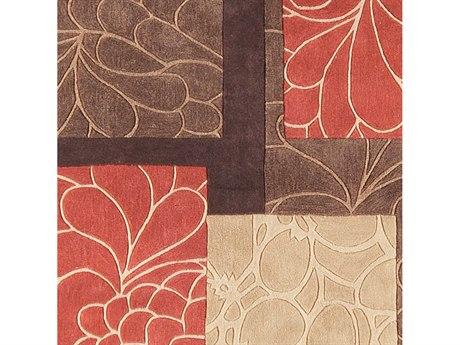 Surya Cosmopolitan Burnt Orange / Dark Brown Khaki Tan Square Sample
