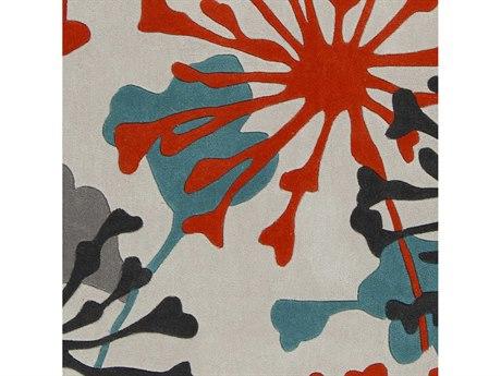 Surya Cosmopolitan Teal / Bright Orange Ivory Black Medium Gray Square Sample