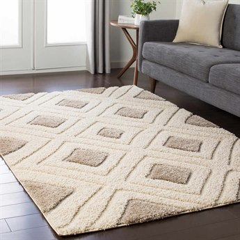 Surya Cut & Loop Shag Cream / Tan Rectangular Area Rug