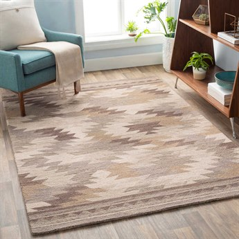Surya Dena Taupe / Dark Brown / Tan / Ivory Rectangular Area Rug