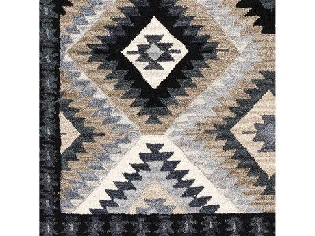 Surya Dena Taupe / Medium Gray / Ivory / Black Square Sample