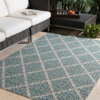 Surya Eagean Aqua / Black Light Gray White Rectangular Area Rug
