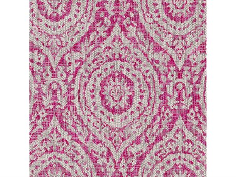 Surya Eagean Bright Pink / Medium Gray Light White Square Sample