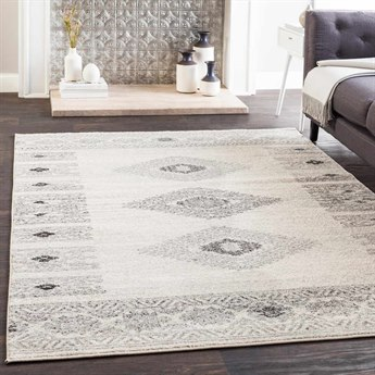 Surya Elaziz Medium Gray / Light White Black Rectangular Area Rug
