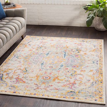 Surya Elaziz Saffron / Bright Pink Orange Dark Blue Aqua Light Gray Medium White Rectangular Area Rug