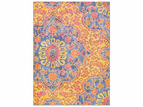 Surya Elaziz Bright Orange / Saffron Dark Blue Aqua Pink White Rectangular Area Rug