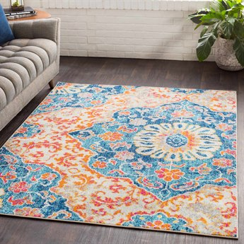 Surya Elaziz Dark Blue / Aqua Bright Orange Pink Saffron Light Gray Medium White Rectangular Area Rug