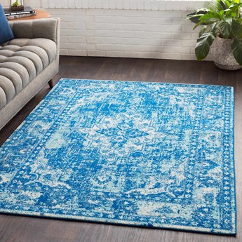 Surya Elaziz Dark Blue / Aqua White Light Gray Rectangular Area Rug