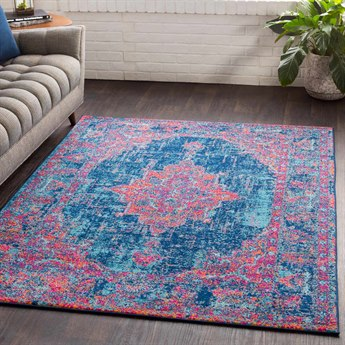 Surya Elaziz Bright Pink / Dark Blue Aqua Orange Saffron Medium Gray Light White Rectangular Area Rug