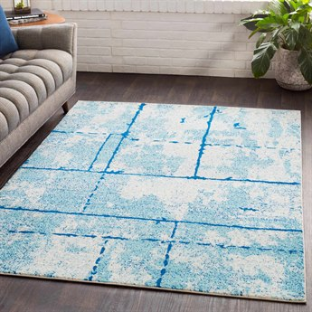 Surya Elaziz Aqua / Dark Blue White Rectangular Area Rug