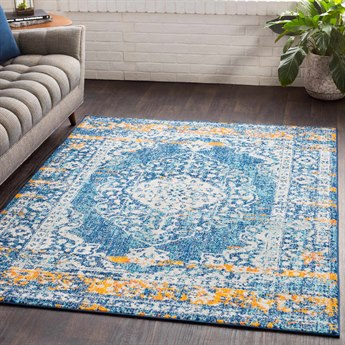Surya Elaziz Dark Blue / Aqua Saffron Bright Orange Light Gray White Pink Rectangular Area Rug