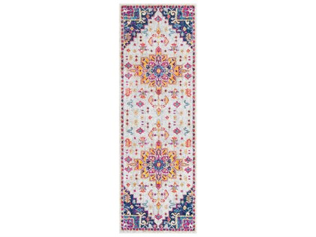Surya Elaziz Dark Blue / Aqua Saffron Bright Orange Pink Light Gray Medium White Runner Area Rug