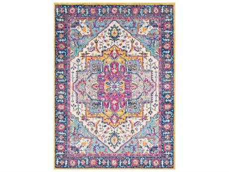 Surya Elaziz Dark Blue / Bright Pink Aqua Saffron Orange Light Gray Medium White Runner Area Rug