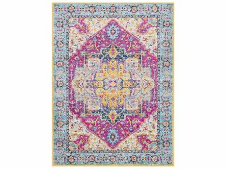 Surya Elaziz Bright Pink / Aqua Saffron Orange Dark Blue Light Gray Medium White Runner Area Rug