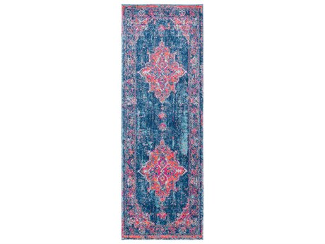 Surya Elaziz Bright Pink / Dark Blue Aqua Orange Saffron Medium Gray Light White Runner Area Rug