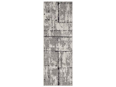 Surya Elaziz Medium Gray / Light Black White Runner Area Rug