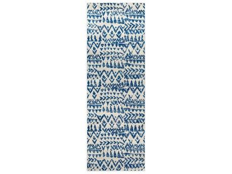 Surya Elaziz Dark Blue / Medium Gray White Runner Area Rug