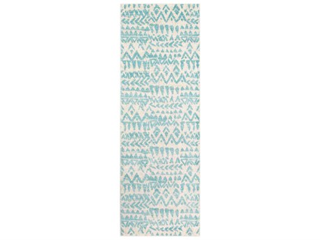 Surya Elaziz Aqua / Light Gray White Runner Area Rug