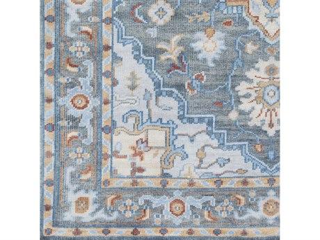 Surya Elixir Bright Blue / Gray / Saffron Red Square Sample