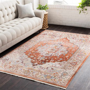 Surya Ephesians Burnt Orange / Pale Pink Medium Gray Cream Beige Aqua Silver Saffron Camel Rectangular Area Rug