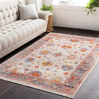 Surya Ephesians Pale Pink / Rose Bright Red Silver Gray Beige Cream Saffron Burnt Orange Aqua Rectangular Area Rug