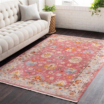 Surya Ephesians Pale Pink / Rose Medium Gray Silver Cream Beige Saffron Burnt Orange Bright Red Aqua Rectangular Area Rug