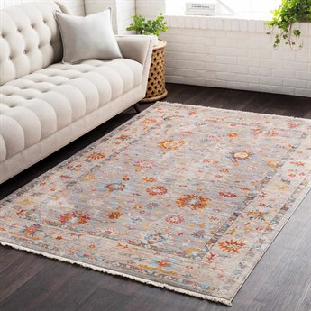 Surya Ephesians Saffron / Burnt Orange Medium Gray Silver Beige Cream Pale Pink Rose Aqua Black Rectangular Area Rug