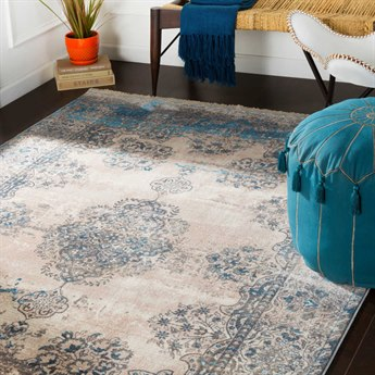 Surya Ephesians Aqua / Cream / Silver Gray Rectangular Area Rug