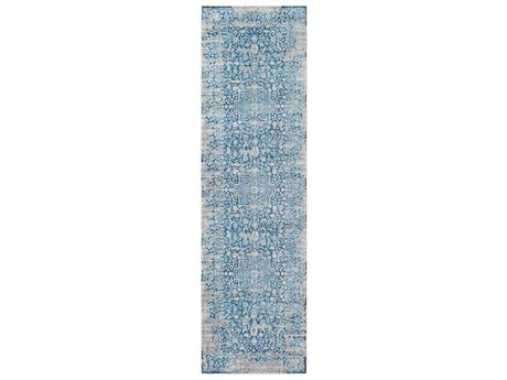 Surya Ephesians Sky Blue / Saffron Aqua Cream Beige Medium Gray Runner Area Rug