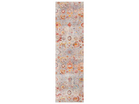 Surya Ephesians Medium Gray / Silver Aqua Burnt Orange Pale Pink Rose Beige Cream Bright Red Runner Area Rug