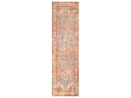 Surya Ephesians Burnt Orange / Pale Pink Medium Gray Cream Beige Aqua Silver Saffron Camel Runner Area Rug
