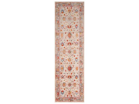 Surya Ephesians Pale Pink / Rose Bright Red Silver Gray Beige Cream Saffron Burnt Orange Aqua Runner Area Rug