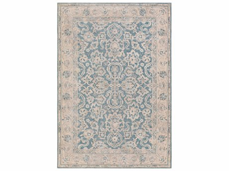 Surya Ephesus Teal / Pale Blue Denim Taupe Ivory Rectangular Area Rug