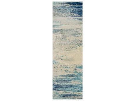 Surya Felicity Denim / Light Gray Aqua Cream Taupe Runner Area Rug