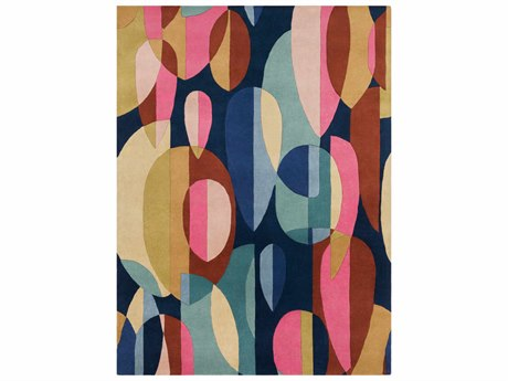 Surya Forum Rectangular Bright Pink, Navy & Teal Area Rug SYFM7206REC