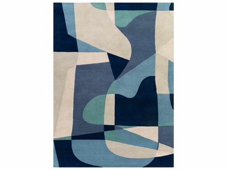 Surya Forum Rectangular Teal, Navy & Denim Area Rug SYFM7195REC
