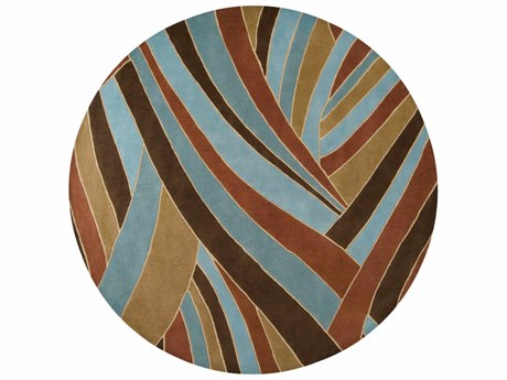 Surya Forum 8' Round Dark Brown, Teal & Camel Area Rug SYFM7002ROU