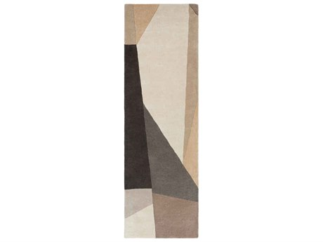 Surya Forum Charcoal / Light Gray Khaki Camel Cream Taupe Runner Area Rug