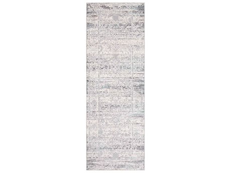 Surya Genesis Silver Gray / White Medium Pale Blue Denim Runner Area Rug