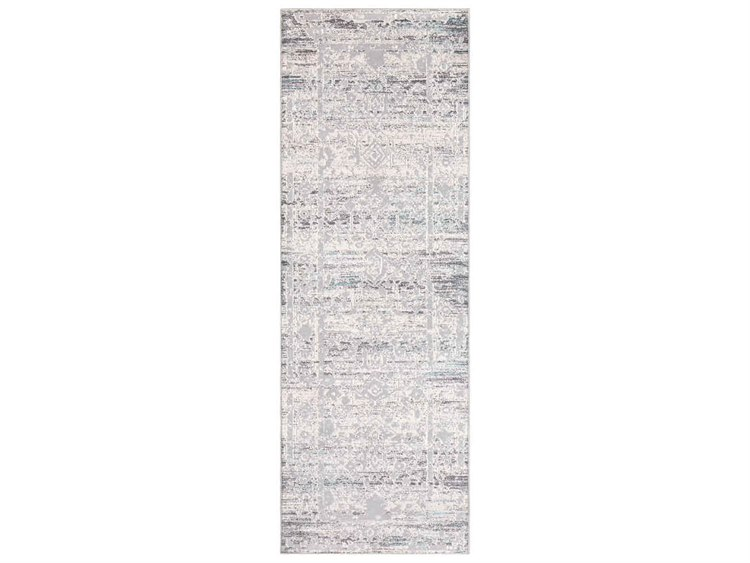 Surya Genesis Silver Gray White Medium Pale Blue Denim Runner Area Rug
