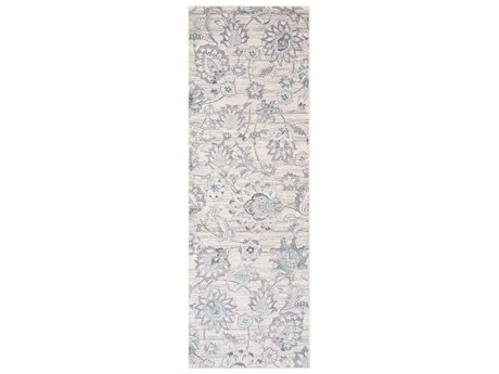 Surya Genesis Silver Gray / White Denim Pale Blue Medium Runner Area Rug