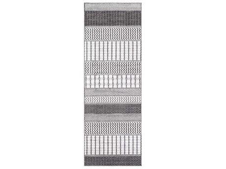 Surya Genesis White / Charcoal / Silver Gray Runner Area Rug