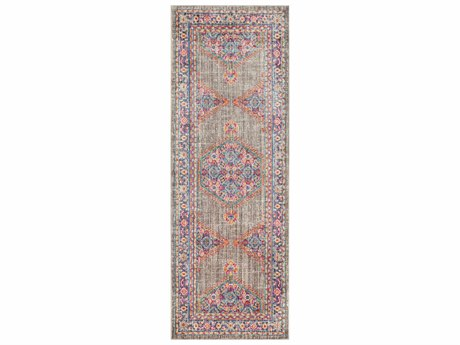 Surya Germili Violet / Taupe Bright Pink Yellow Teal Runner Area Rug